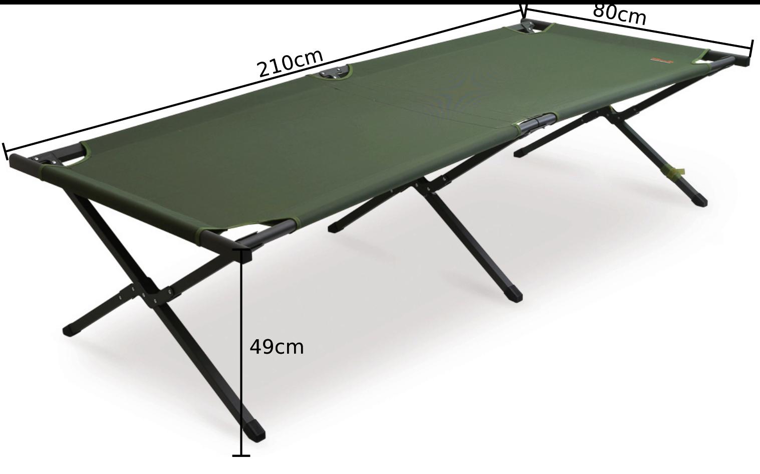 Kempingová postel Bed - rozměry