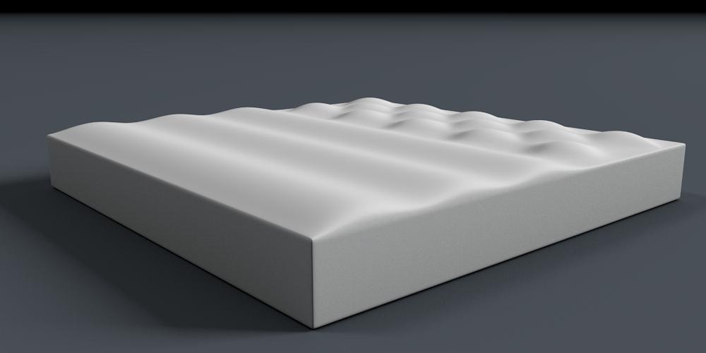 tvarovaná plná pěna - grafické znázornění
