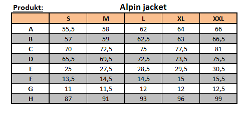 Tabulka velikostí Alpin jacket