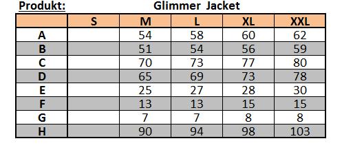 Velikostní tabulka bundy Glimmer Jacket