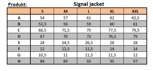 velikostní tabulka bundy Signal
