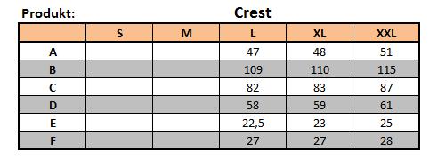 velikostní tabulka kalhot Crest