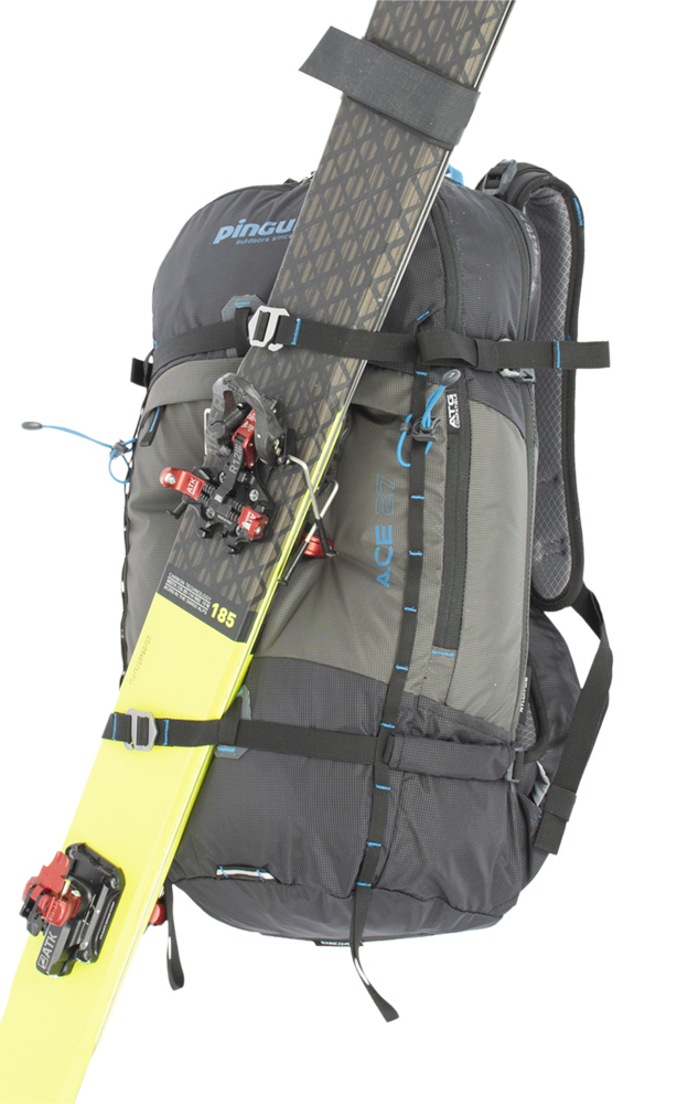 Possibility of front fixation of snowboard or snowshoes with horizontal straps.