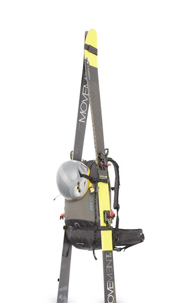 The possibility of transporting wide skis on the sides of the backpack.