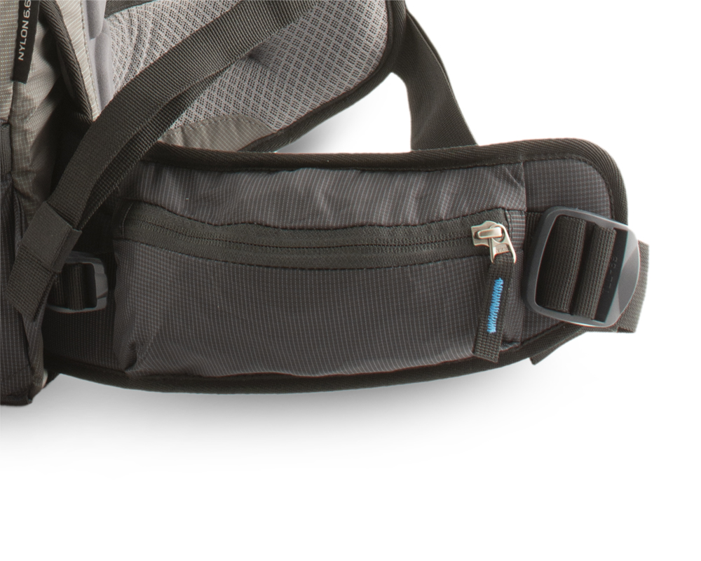 Zip pocket on the right side of the waist belt, loop for carabiner or ski crampons on the left side.