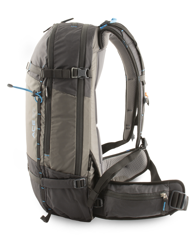 Low profile backpack for maximum freedom of movement when skiing and snowboarding.
