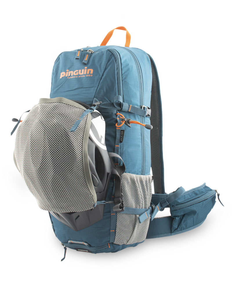 Flux 15 - Removable helmet net is attached with snap hooks into a pair of vertical chains on the front of the backpack. These can be used to attach additional equipment.