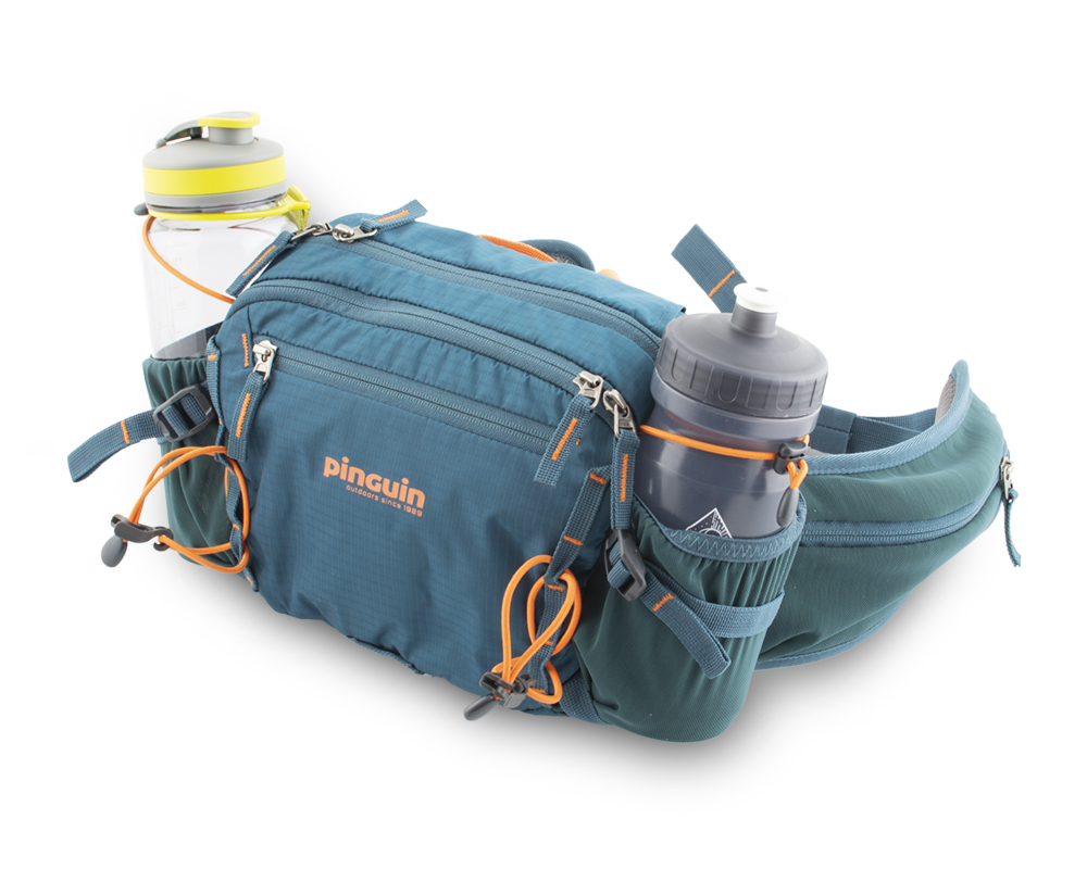 Hip bag - Side pockets made of stretch material with flexible loops for safe transport of bottles during any activity.