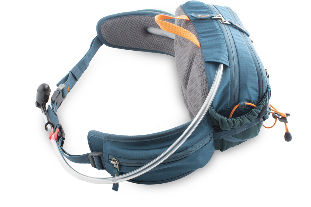 Hip bag - Water bag hose or earphone outlet at the top of the bag.