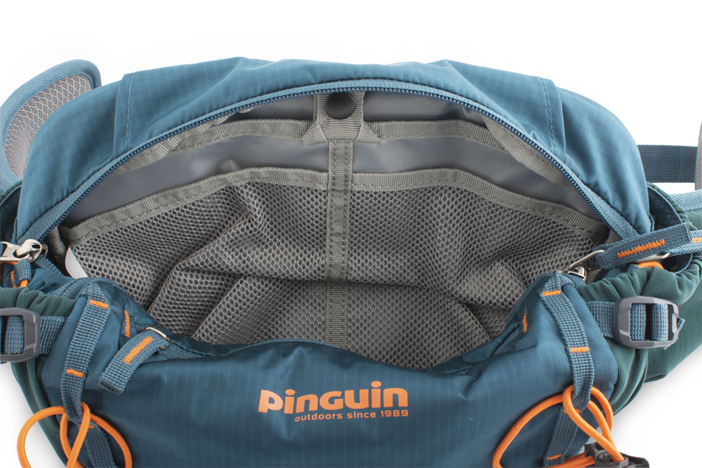 Hip bag - Large main compartment with partition to the water reservoir and mesh pockets for tools, spare inner tube, mp3 player, etc.