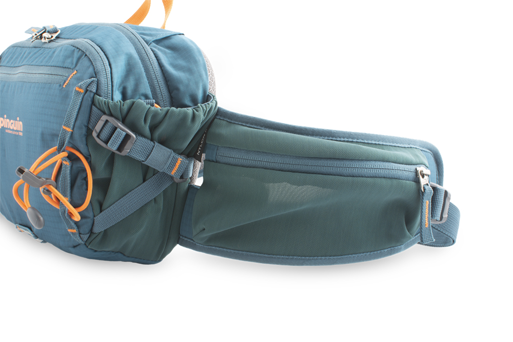 Hip bag - Spacious zipper pocket made of flexible material on the right side of the waist belt.