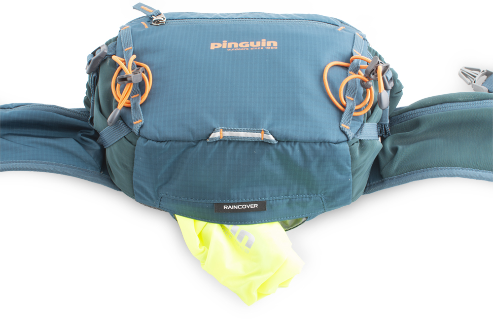 Hip bag - Reflective loop for blinker at the bottom of the bag.  Distinctive raincover in a separate pocket at the bottom of the bag.