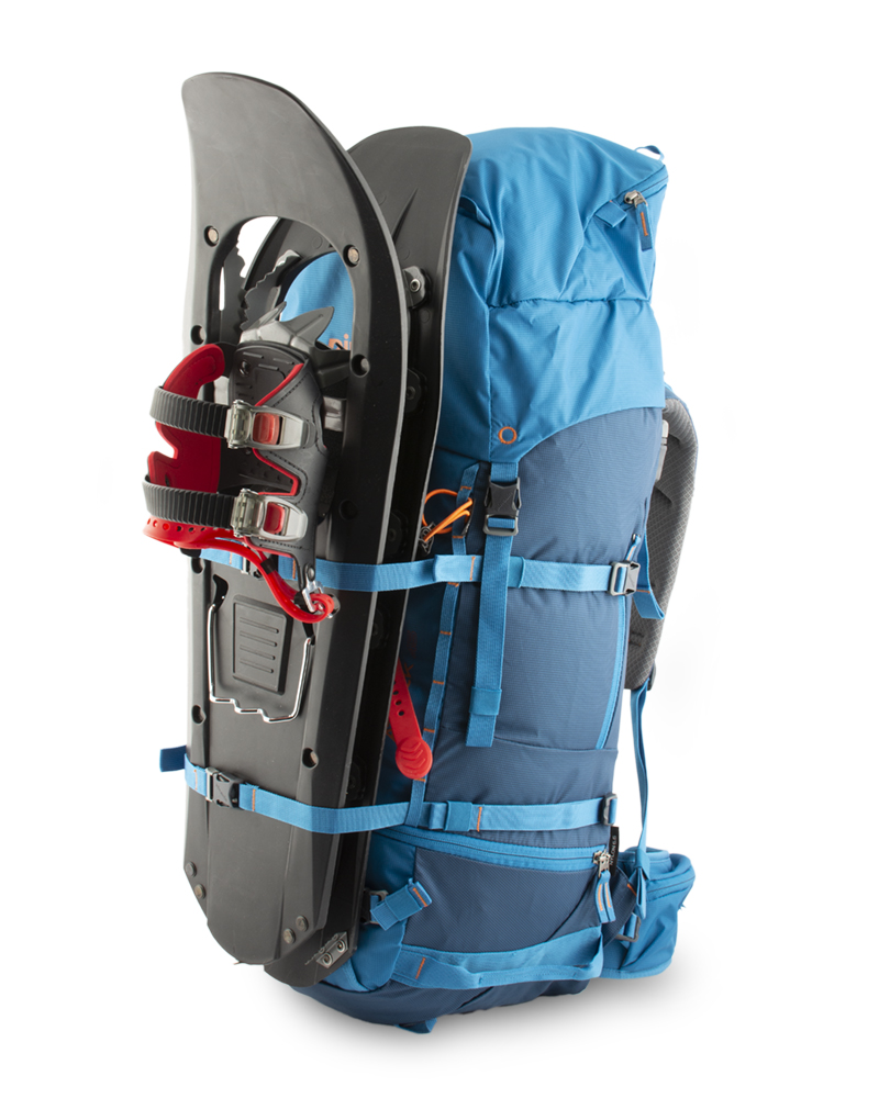 Attack 45 - Pair of horizontal straps for easy attachment of snowboard or snowshoes from the front of the backpack or skis and splitboard on its sides.