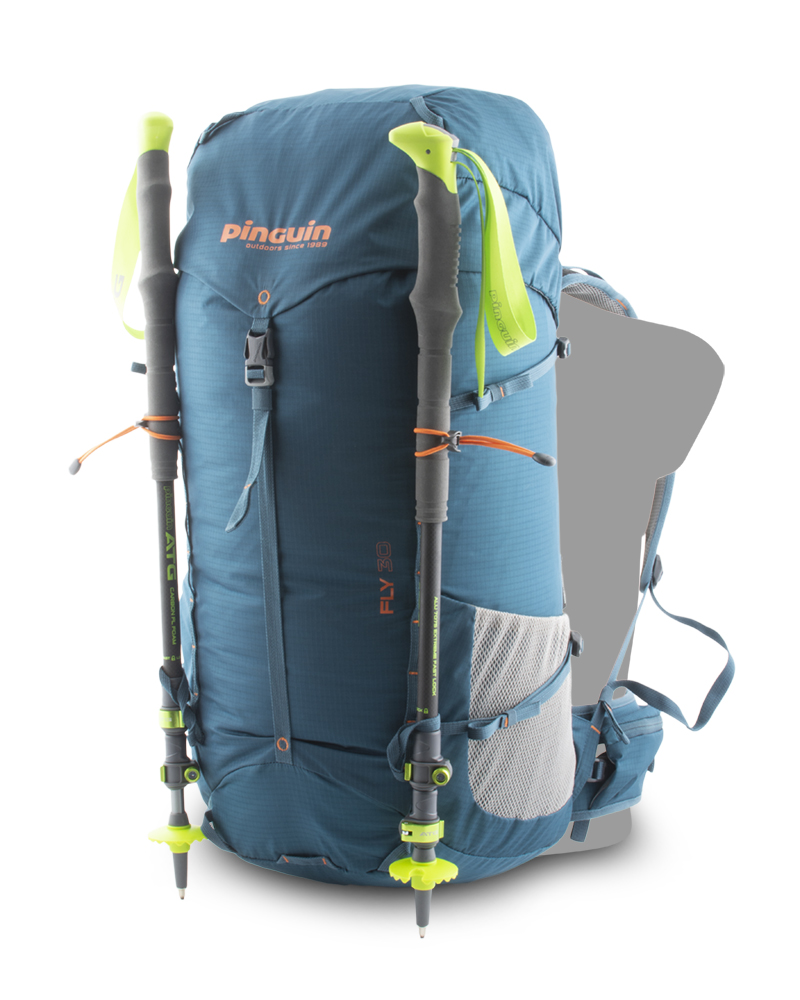 Fly 30 petrol - Elastic loops with hooks and loops on the bottom of the backpack for attaching trekking poles on the front.