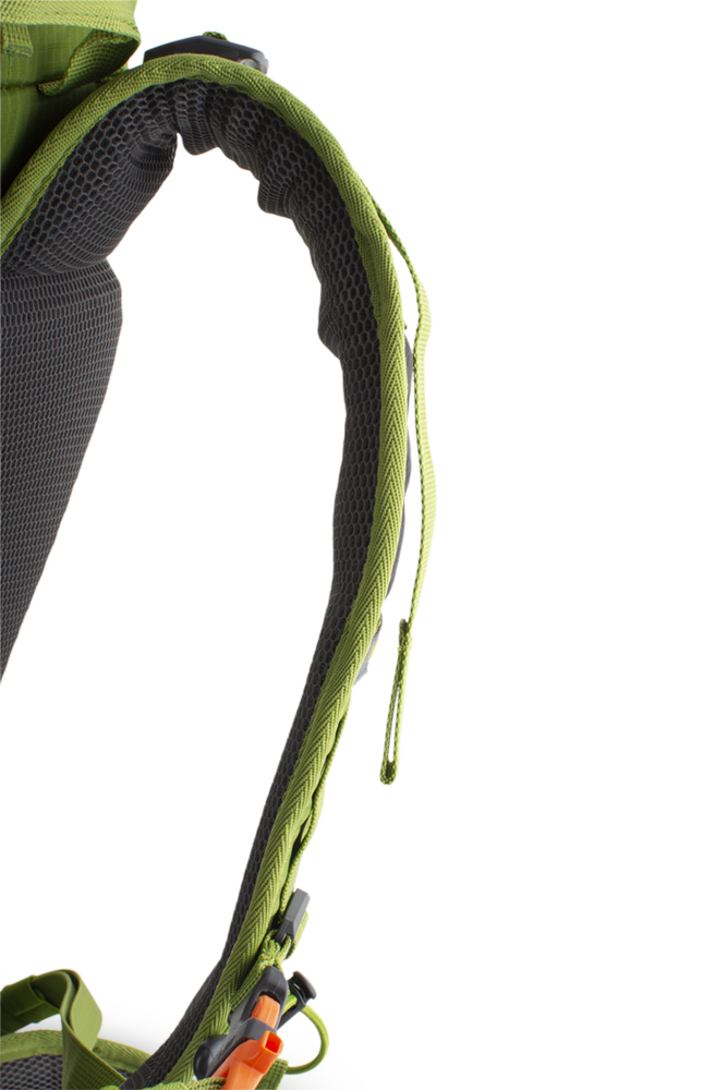 Trail 42 green - Shoulder straps with reinforced padding in the shoulder section for even greater comfort when transporting heavy loads are perforated at the top for increased breathability