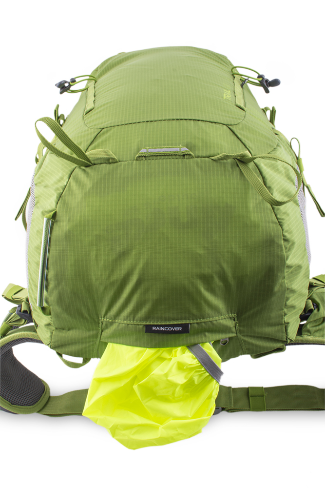 Trail 42 green - A distinctive raincoat in a separate zip pocket on the bottom of the backpack.  Reflective loop for blinker at the bottom of the backpack.