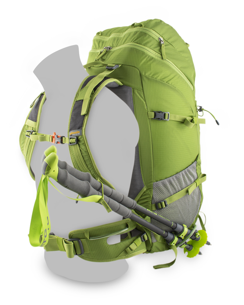 Trail 42 green - Loop for attaching trekking poles while walking on the left shoulder strap and under the left mesh pocket.