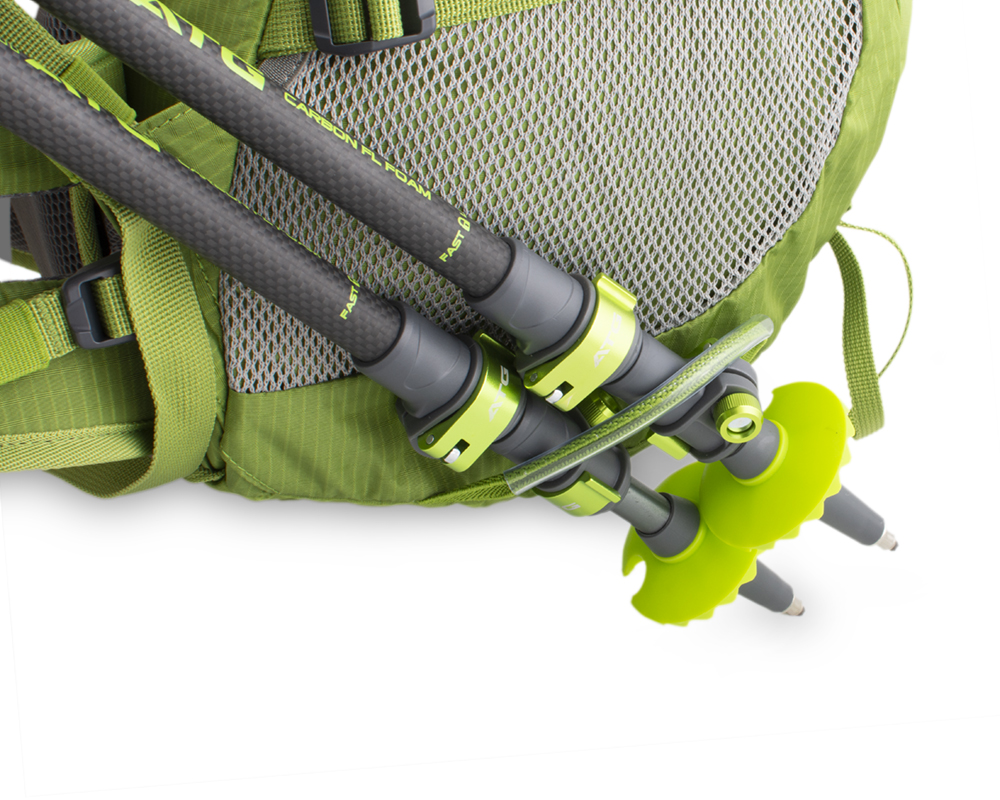 Trail 42 green - Elastic loops with hooks and loops on the bottom of the backpack for attaching trekking poles on the front side.