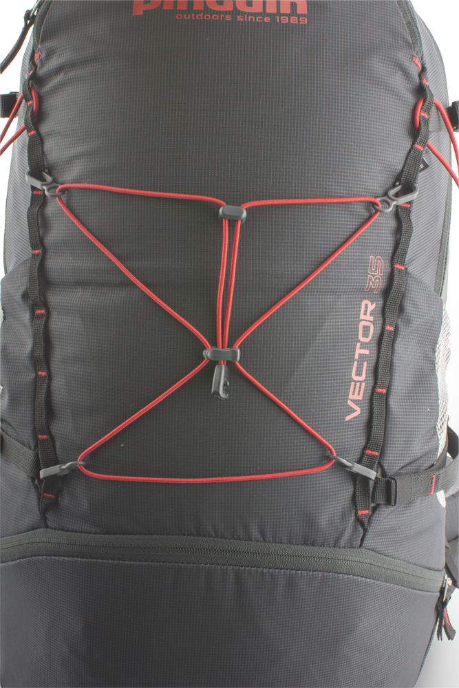 Vector 35 black - Removable elastic on the front of the backpack for easy attachment of easily accessible equipment (windbreaker etc.).  A pair of vertical chains on the front of the backpack with the option of attaching additional equipment.