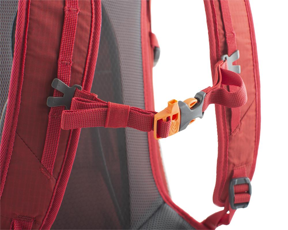 Ride 19 red - výškově nastavitelný a odepínatelný hrudní popruh s píšťalkou pro případ nouze