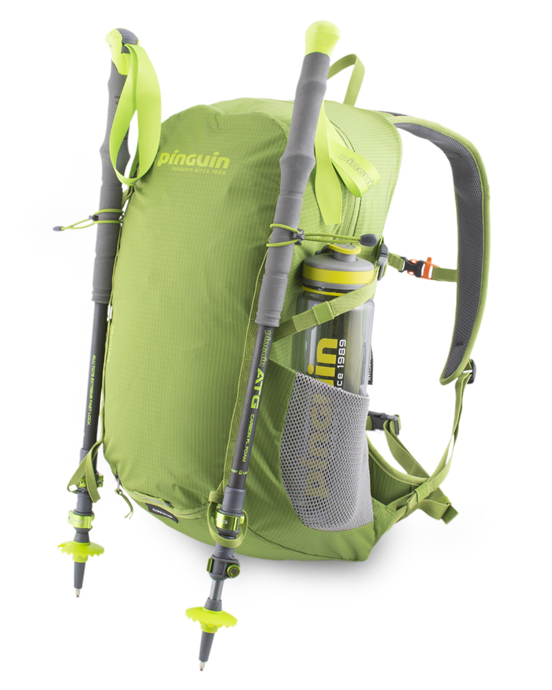 Ride 25 green - Elastic loops with hooks and loops at the bottom of the backpack for attaching telescopic poles.