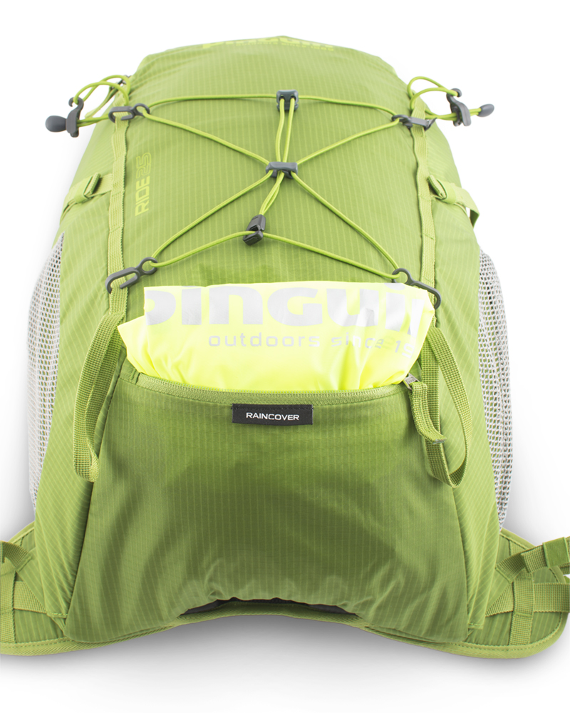 Ride 25 green - A distinctive raincoat in a separate zip pocket on the bottom of the backpack. Placing a pocket allows you to use a pocket to transport the tool case.
