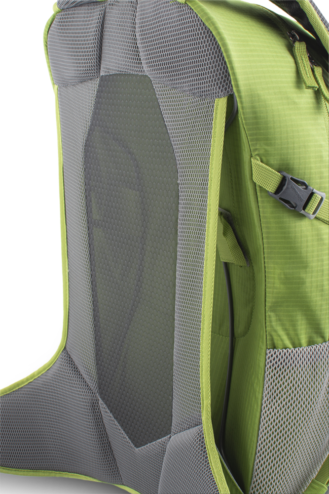 Ride 25 green - Very comfortable, ventilated AVBS back system, combining solid mesh with 3D mesh panels for maximum back ventilation while maintaining optimum load distribution. Prestressing of the back system by wire frame.