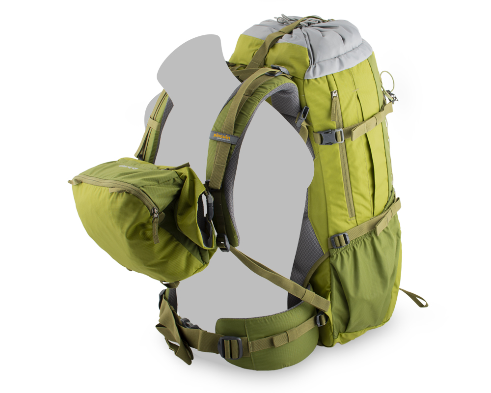 Activent 48 green - Easily detachable spacious backpack lid can be used as a hip bag or shoulder bag.