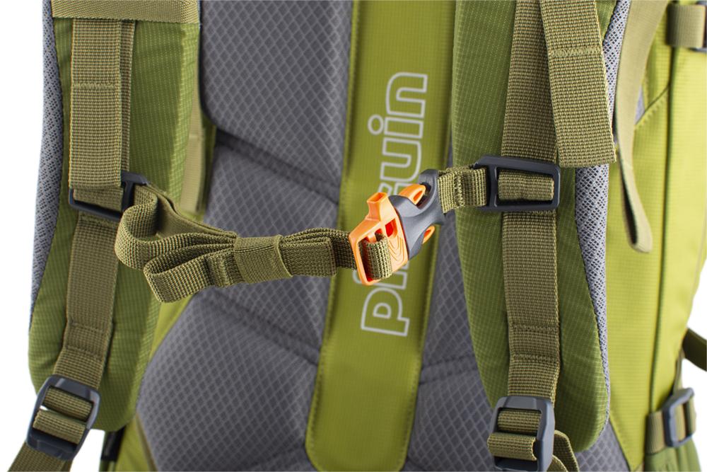 Activent 48 green - výškově nastavitelný a odepínatelný hrudní popruh s píšťalkou pro případ nouze