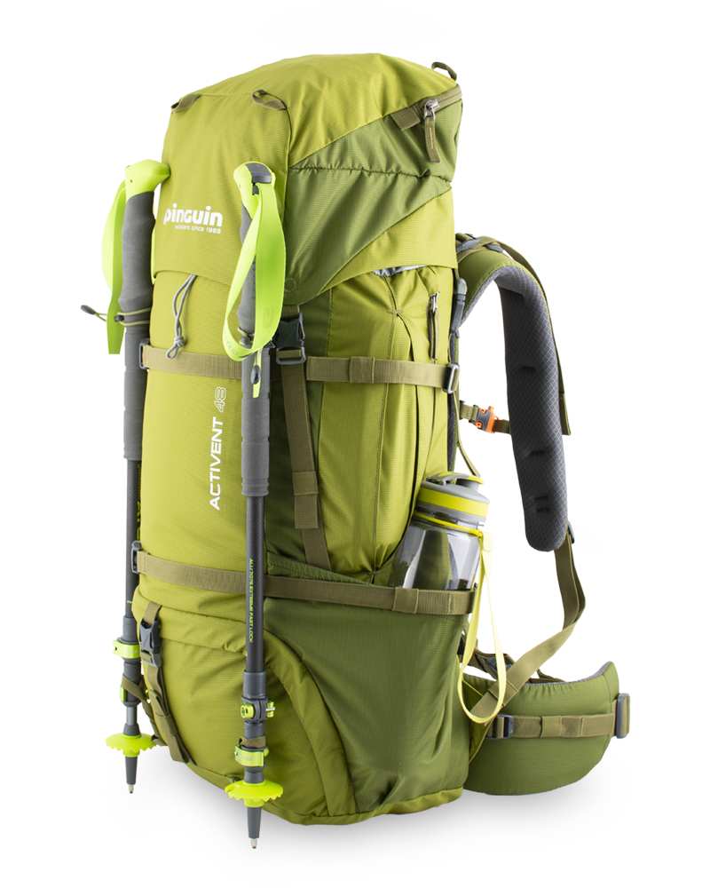 Activent 48 green - Elastic loops with hooks for attaching telescopic poles or ice axes and loops at the bottom of the backpack.