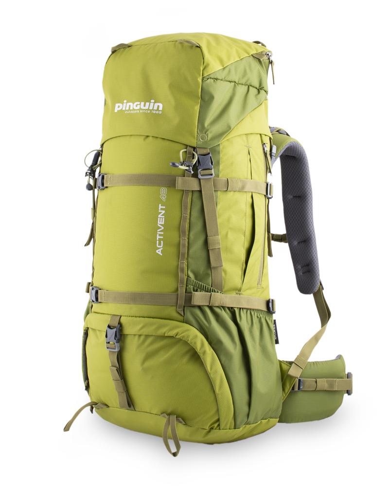 Activent 48 green - prostorné boční zipové kapsy pro snadný přístup např. k potravinám, rukavicím nebo bundě. Pár horizontálních popruhů pro snadné přichycení stanu nebo sněžnic z čela batohu nebo lyží a dalšího vybavení na jeho bocích.