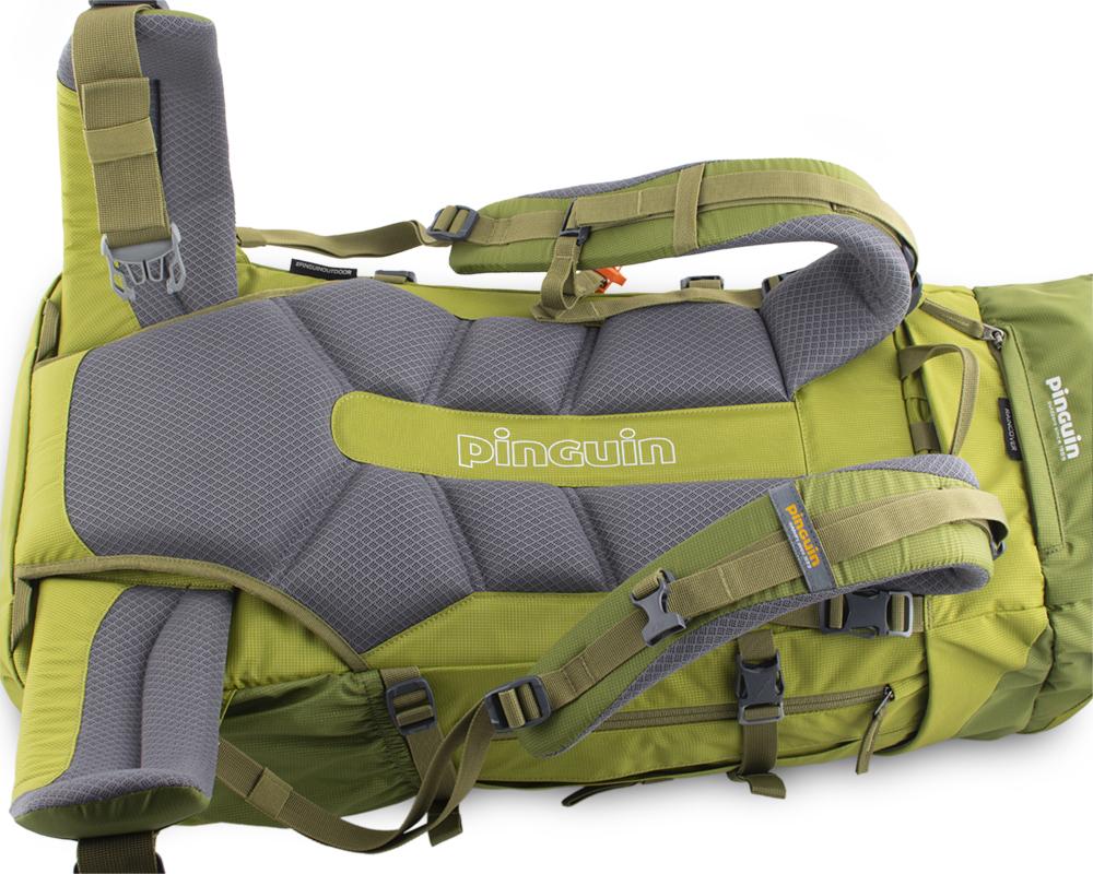 Activent 48 green - pohodlný, šitý zádový systém s polštářky potaženými 3D mesh prodyšnou textilií zajišťuje efektivní odvětrání zad při zachování optimálního rozložení nákladu