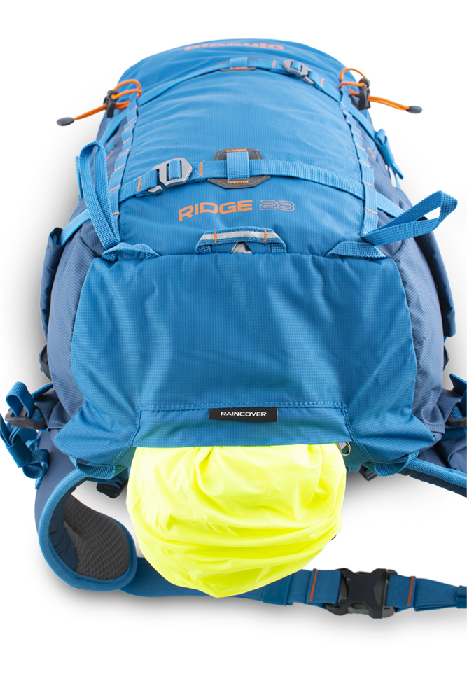 Ridge 28 - Reflective blinker loop for good visibility in bad weather.  A distinctive raincoat in a separate zip pocket on the bottom of the backpack.