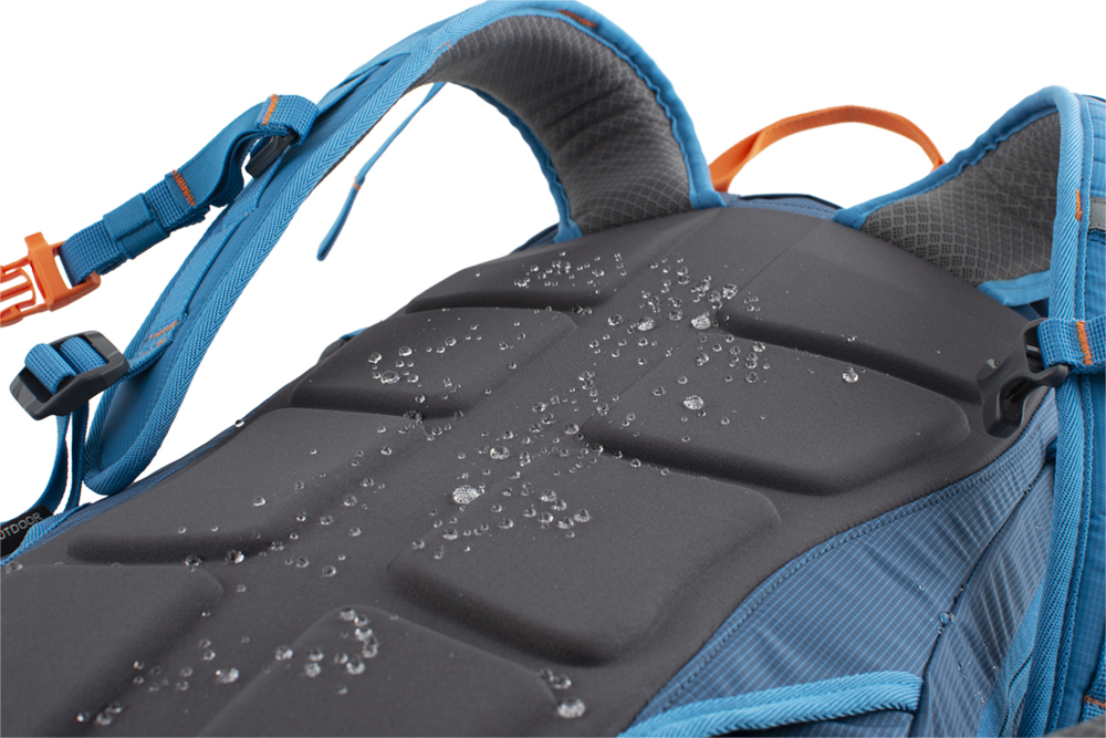 Ridge 28 petrol - The new, non-absorbent, molded back system SNOFF, which does not stick to snow and is water repellent.
