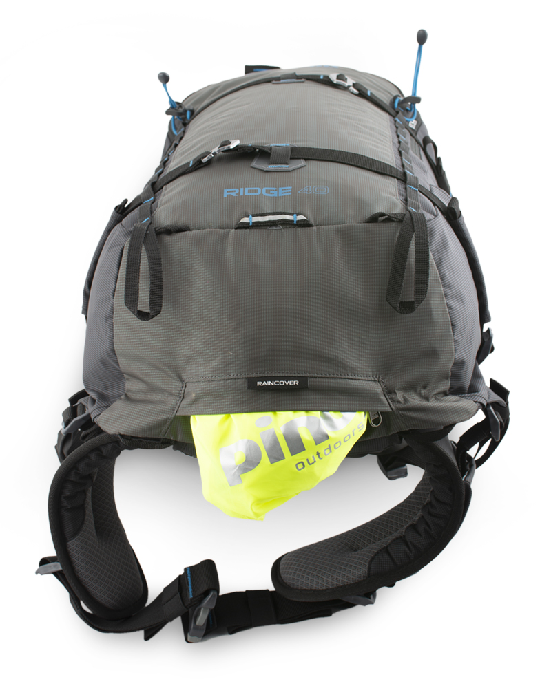 Ridge 40 - Reflective blinker loop for good visibility in bad weather.  A distinctive raincoat in a separate zip pocket on the bottom of the backpack.