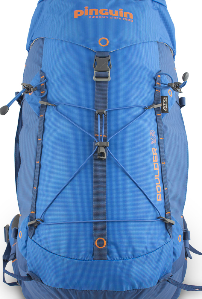 Boulder 38 blue - A pair of vertical chains on the front of the backpack for attaching additional equipment.  Removable elastic on the front of the backpack for easy attachment of easily accessible equipment (windbreaker etc.).