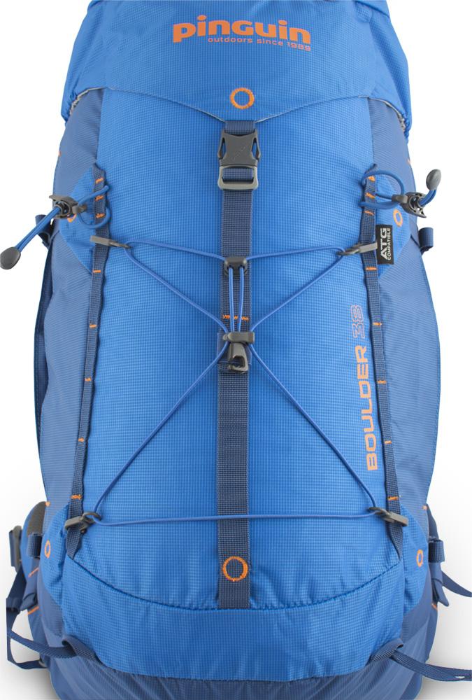 Boulder 38 blue - pár vertikálních řetízků na čele batohu s možností připevnění dodatečného vybavení. Odnímatelná pruženka na čele batohu pro snadné připevnění lehce přístupného vybavení (větrovka atd.)