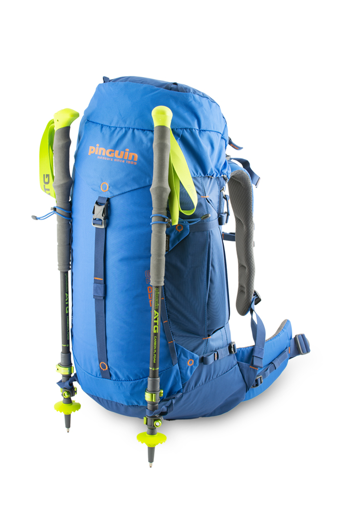 Boulder 38 blue - Elastic loops with hooks and loops at the bottom of the backpack for attaching telescopic poles or ice axes.