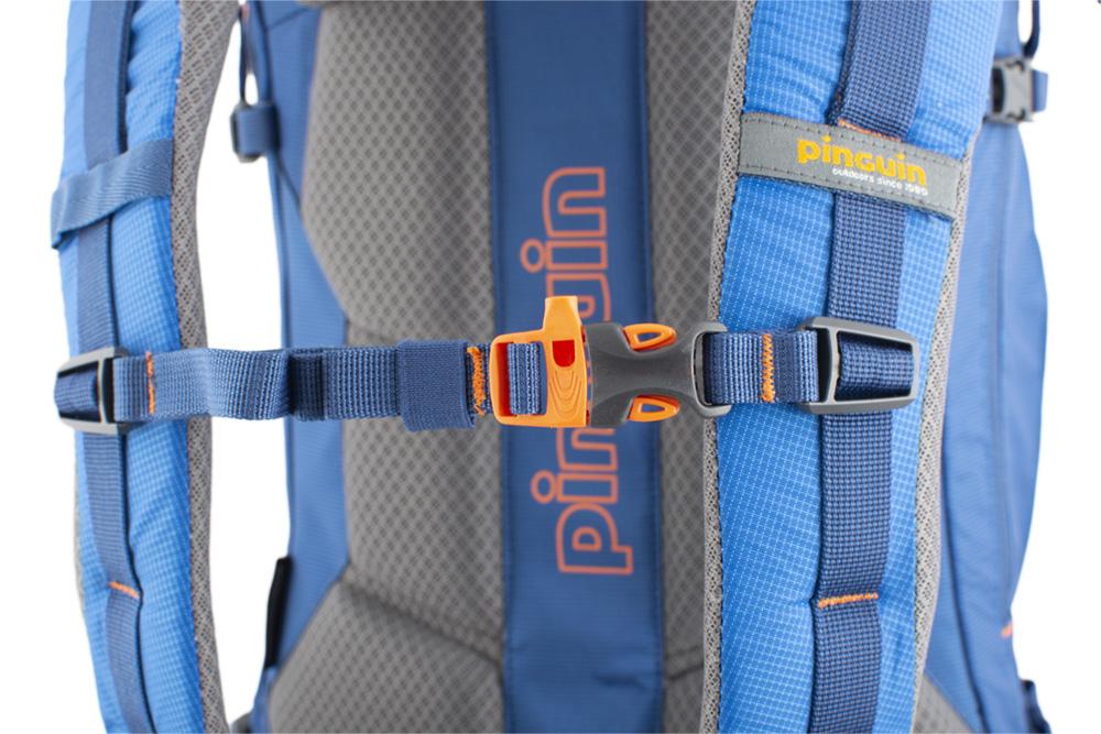 Boulder 38 blue - výškově nastavitelný a odepínatelný hrudní popruh s píšťalkou pro případ nouze