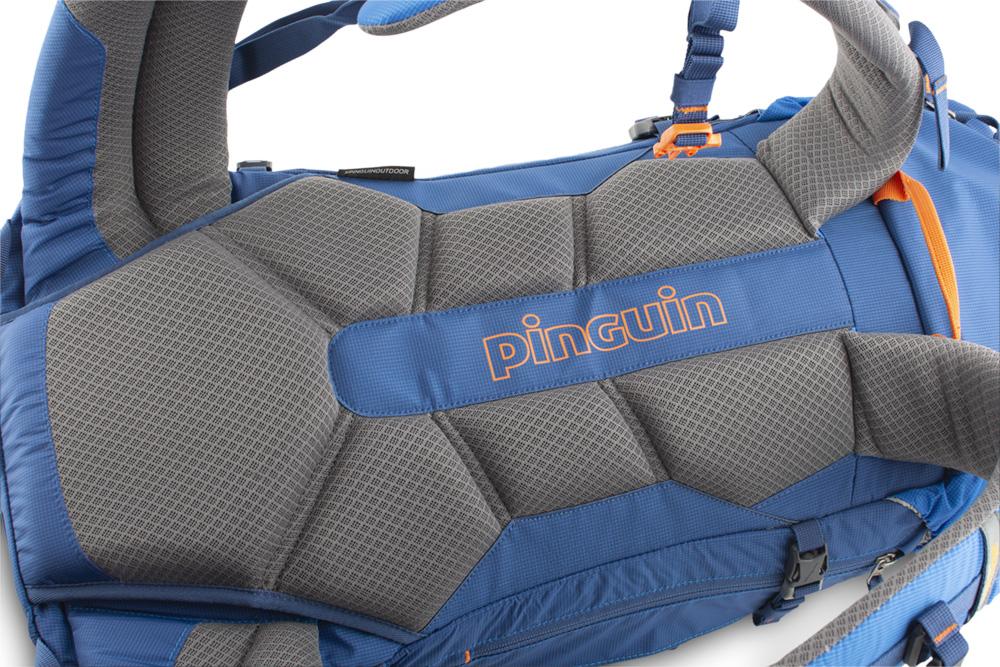 Boulder 38 blue - pohodlný, šitý zádový systém s polštářky potaženými 3D mesh prodyšnou textilií zajišťuje efektivní odvětrání zad při zachování optimálního rozložení nákladu