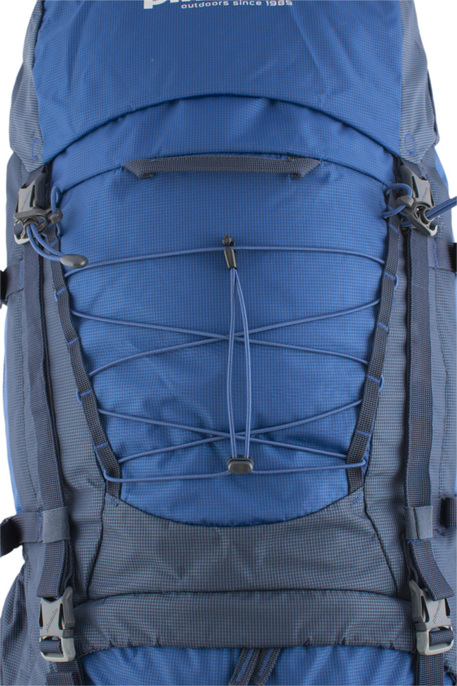 Explorer 100 navy - A pair of vertical chains on the front of the backpack for attaching additional equipment.  Removable elastic on the front of the backpack for easy attachment of easily accessible equipment (windbreaker etc.).