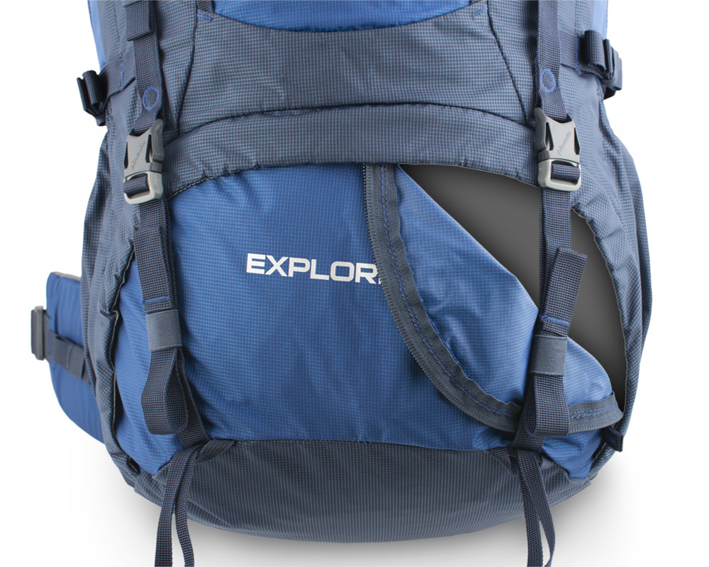 Explorer 100 navy - The lower chamber zipper is secured by a pair of straps with the possibility of attaching additional material (eg tent).