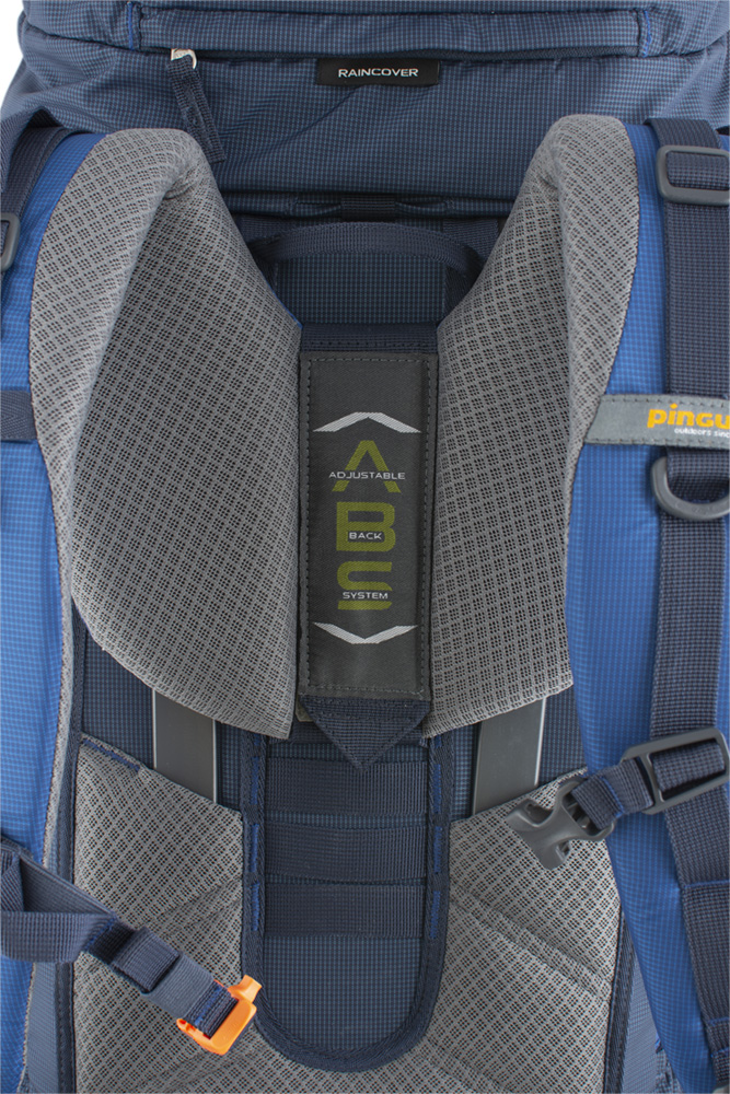 Explorer 100 navy - The height-adjustable, comfortable, sewn ABSback system with cushions coated with 3D mesh breathable fabric ensures efficient back ventilation while maintaining optimal load distribution.