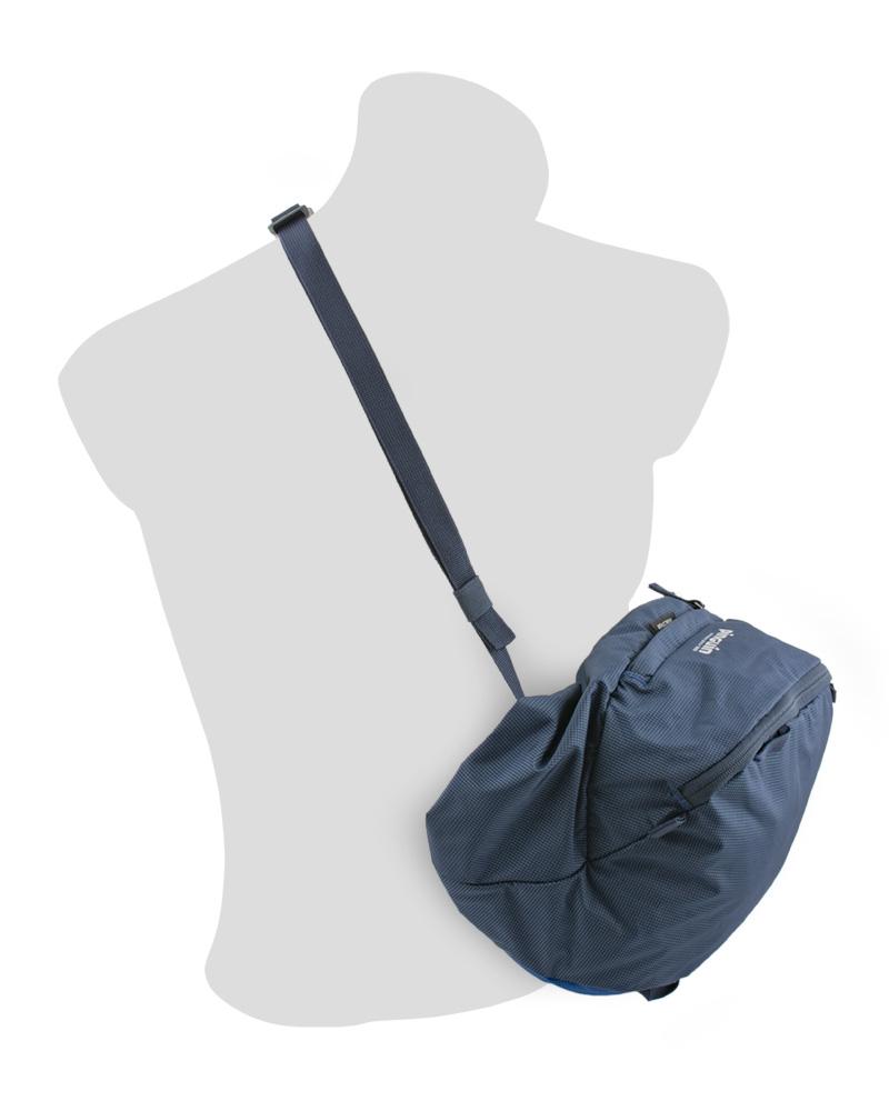 Explorer 75 navy - snadno odepínatelné prostorné víko batohu se dá použít jako taška přes rameno