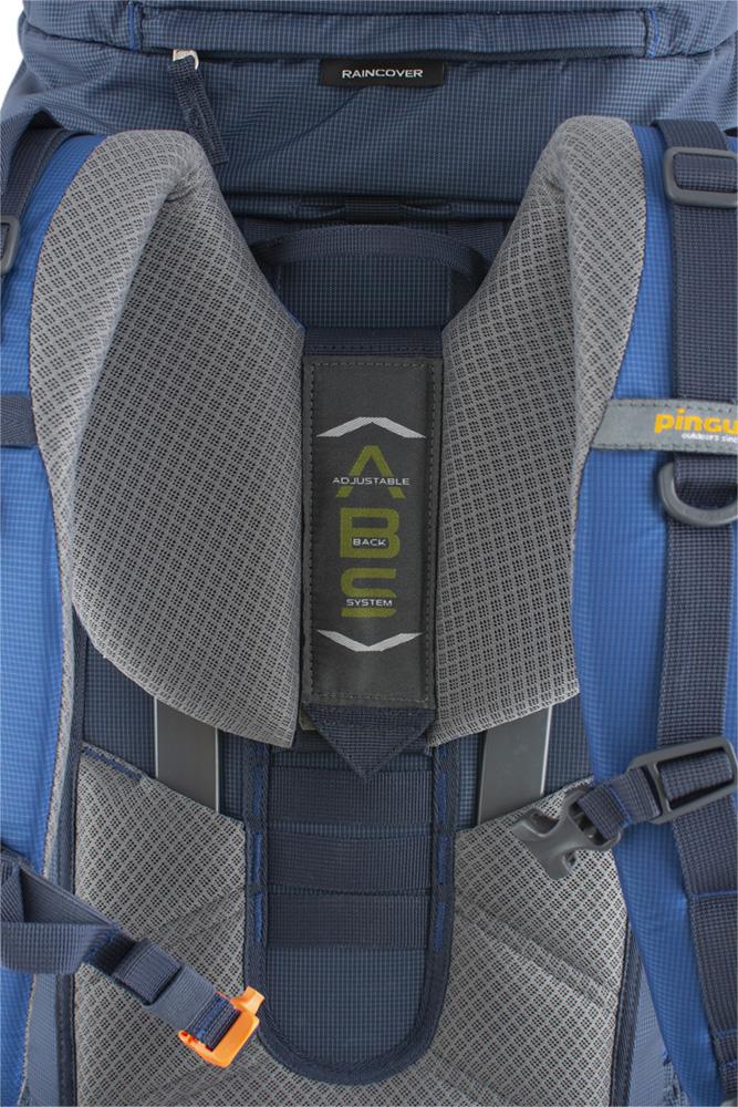 Explorer 75 navy - výškově nastavitelný, pohodlný, šitý zádový systém ABS s polštářky potaženými 3D mesh prodyšnou textilií zajišťuje efektivní odvětrání zad při zachování optimálního rozložení nákladu