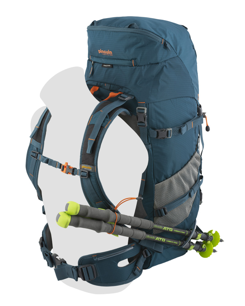 Walker 50 petrol - Strap for attaching trekking poles while walking on the left shoulder strap and under the left mesh pocket.
