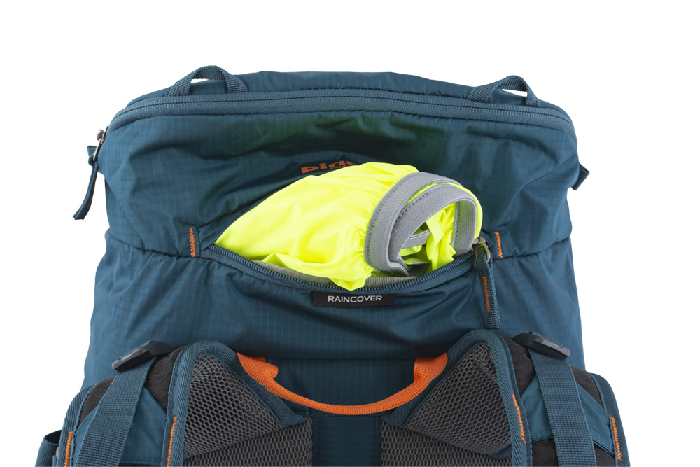 Walker 50 petrol - Distinctive raincoat in a separate zip pocket on the lid of the backpack.