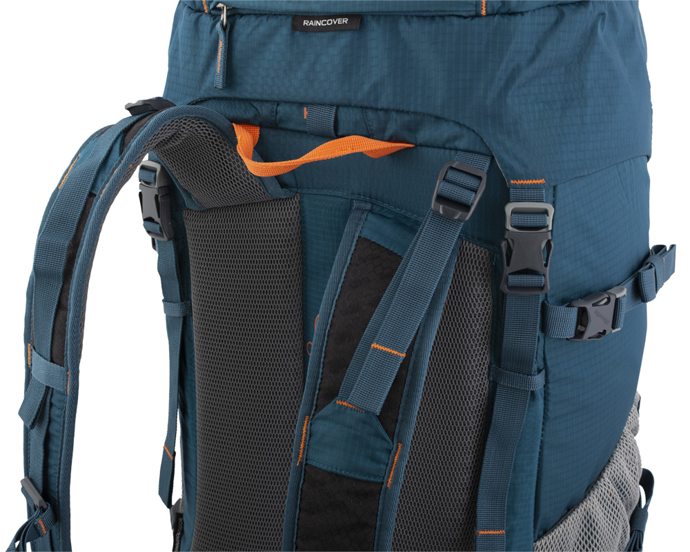 Walker 50 petrol -Balance straps at the top of the shoulder straps and on the sides for perfect fit of the backpack on the back and eliminating its movement while walking.